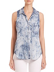 Bella Dahl Sleeveless Pocket Button Down Blouse Blue White Combo