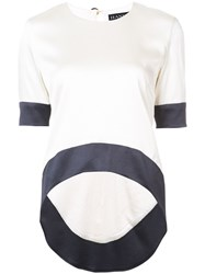 Haney Navy Trim Top Nude And Neutrals