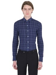 Salvatore Piccolo Slim Fit Checked Linen Denim Shirt