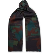 The Workers Club Printed Cotton Scarf Navy