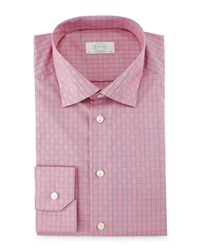 Eton Contemporary Fit Box Check Dress Shirt Red