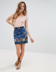 Glamorous Embroidered Denim Skirt Mid Blue Embroidered