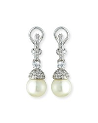 Fantasia Pave Capped Pearly Drop Earrings