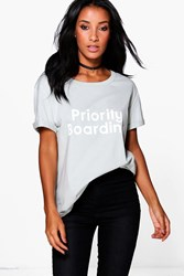 Boohoo Priority Printed Oversized T Shirt Mint