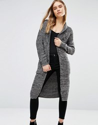 Qed London Chunky Longline Cardigan Black And Grey