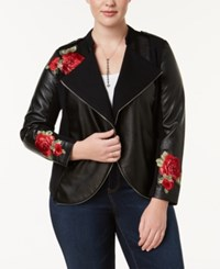 Inc International Concepts Plus Size Embroidered Mixed Media Jacket Created For Macy's Deep Black