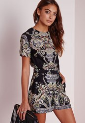 Missguided Zulu Paisley Print Cap Sleeve Playsuit Black