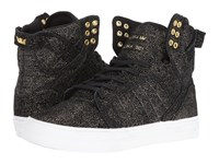 Supra Skytop Black Gold Suede White Women's Skate Shoes