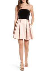 Speechless Strapless Fit And Flare Dress Blush Black