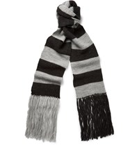 Lanvin Striped Merino Wool Scarf Gray