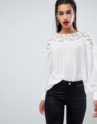 Morgan Lace Detail Blouse White