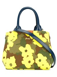 Muveil Floral Camouflage Print Tote Green
