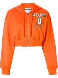 Moschino Interlocking C Clamp Hooded Sweatshirt Yellow And Orange