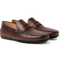 Tod's City Gommino Burnished Cross Grain Leather Penny Loafers Dark Brown