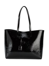 Saint Laurent Monogram Patent Leather Tote Bag Women Leather Suede One Size Black