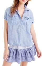 J.Crew Women's Cross Dyed Irish Linen Popover Shirt French Blue