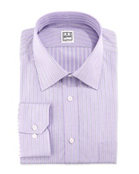 Ike By Ike Behar Long Sleeve Fancy Stripe Dress Shirt Eggplant