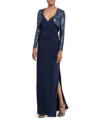 Ralph Lauren Sequin Bolero Gown Lighthouse Navy