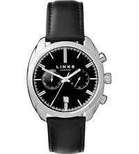 Links Of London Bloomsbury Stainless Steel Leather Strap Watch Black