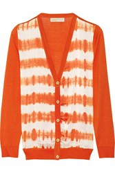 Michael Michael Kors Tie Dyed Stretch Silk And Cotton Blend Cardigan