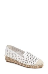 Bella Vita Women's Channing Cutout Espadrille Loafer White Leather