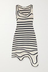Lanvin Asymmetric Striped Cotton Blend Terry Dress Navy