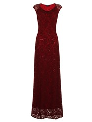 Hotsquash Cowl Lace Maxi Dress In Thinheat Fabric Burgundy