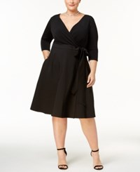 Sangria Plus Size Fit And Flare Wrap Dress Black