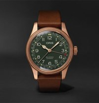 Oris Big Crown Pointer Date Automatic 40Mm Bronze And Leather Watch Green