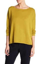 Eileen Fisher Boatneck Knit Box Sweater Green