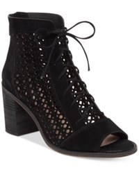 Vince Camuto Trevan Perforated Booties Women's Shoes Black