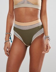 Jaded London Mesh High Waist Bikini Bottom Nude Multi