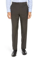 John W. Nordstrom Big And Tall Torino Traditional Fit Flat Front Plaid Wool Trousers Dark Taupe