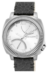 Vince Camuto Multifunction Leather Strap Watch 50Mm Black Silver