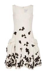 Carolina Herrera Floral Beaded Dress Ivory