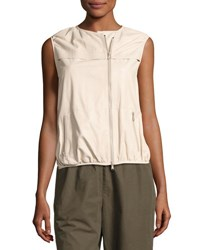 Brunello Cucinelli Asymmetric Zip Napa Leather Vest Light Beige