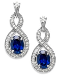 Macy's 14K White Gold Sapphire 2 Ct. T.W. And Diamond 1 4 Ct. T.W. Drop Earrings