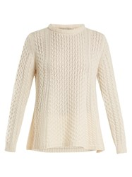 Queene And Belle Alpina Cable Knit Cashmere Sweater Ivory
