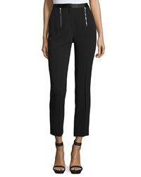 Cnc Costume National Zip Front Slim Leg Cropped Pants Black