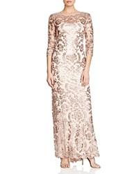 Tadashi Shoji Three Quarter Sleeve Sequined Embroidered Gown Dusty Rose