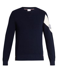 Moncler Gamme Bleu Stripe Detail Cotton Sweater Navy