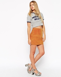Asos Mini Skirt In Suede Tan