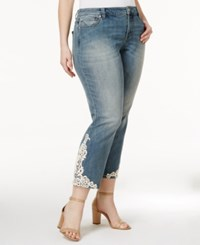 Inc International Concepts Plus Size Lace Applique Indigo Wash Cropped Jeans Only At Macy's