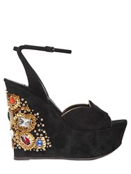 Casadei 140Mm Swarovski And Sequin Suede Wedges