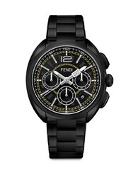 Fendi Momento Stainless Steel And Romano Leather Strap Watch Black