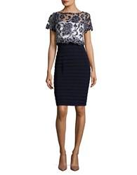 Betsy And Adam Lace Accented Popover Dress Navy Ivory