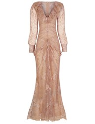 Alessandra Rich Blush Lace V Neck Ruched Gown Nude