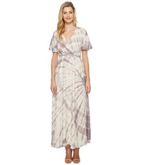 Culture Phit Fabiola Short Sleeve Tie Dye Maxi Dress Ivory Red Bean Women's Dress White