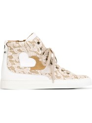 Twin Set Lace Hi Top Sneakers Nude And Neutrals