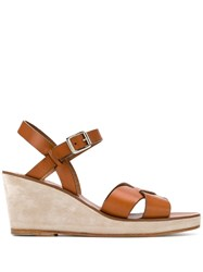 A.P.C. Judith Wedge Sandals Brown